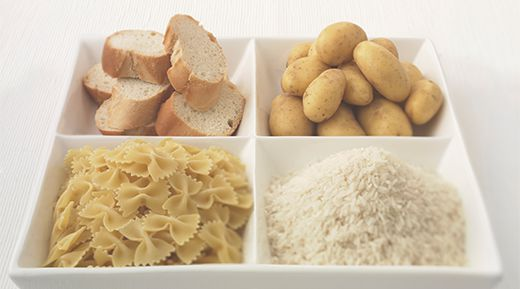 Starchy foods: bread, potatoes, pasta and rice